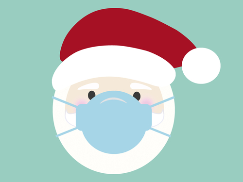 SANTA CLAUS WITH MASK - COVID 19 CHRISTMAS ILLUSTRATION