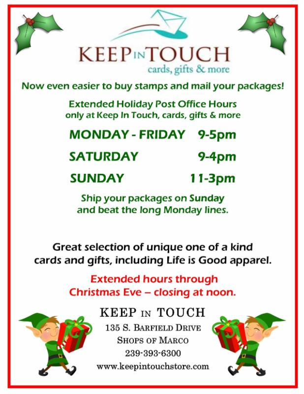 extended holiday post office hours only at keep in touch - Christmas Eve Post Office Hours