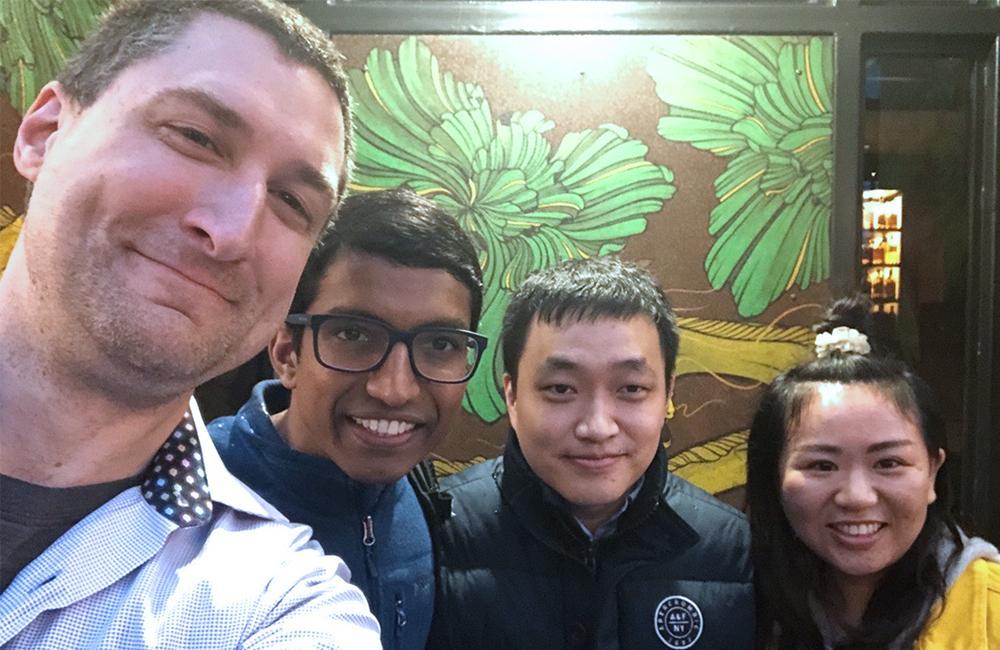 Professor Rich Radke with his former PhD students, Srikrishna Karanam, Ziyan Wu, and Meng Zheng.