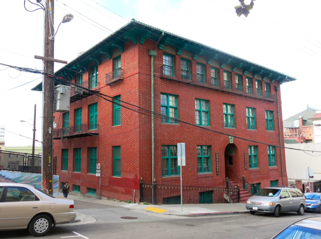 The exterior of Gum Moon Women's Residence, at 940 Washington St. in San Francisco's Chinatown.