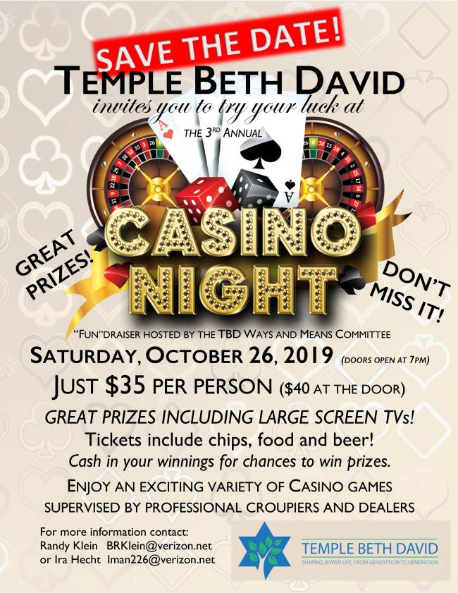 Casino Night save the date