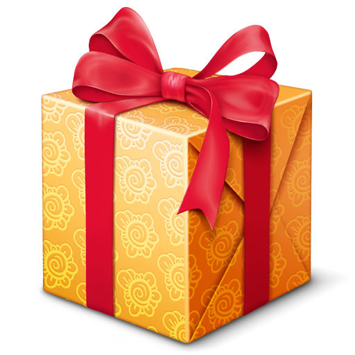 gold box with red ribbon bow