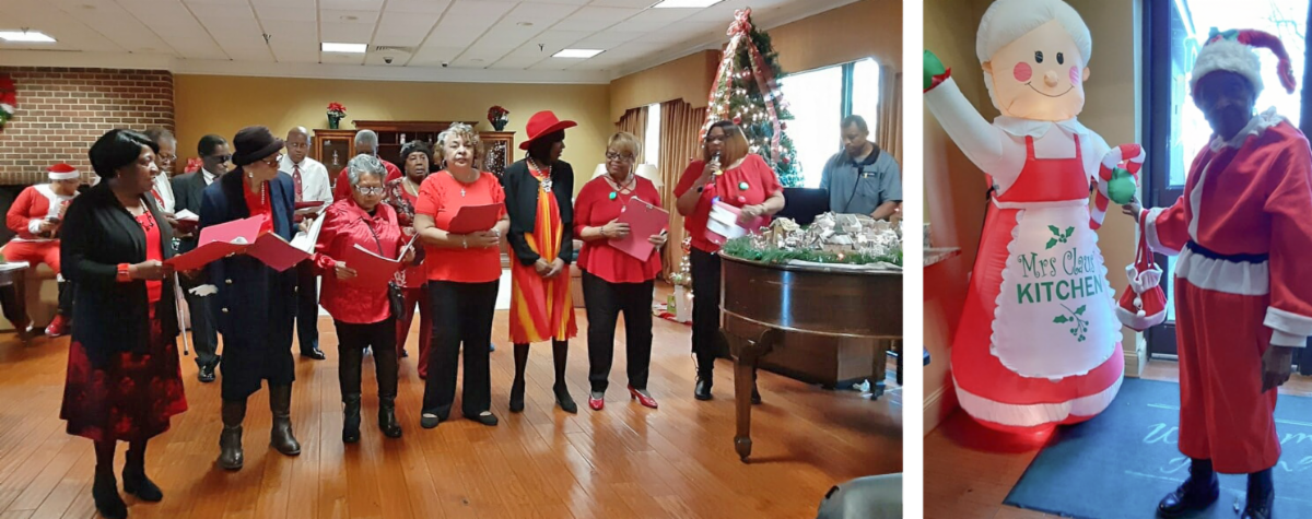 2 photos of chorus singers and a resident dressed as Santa with a blow up Mrs Santa decoration
