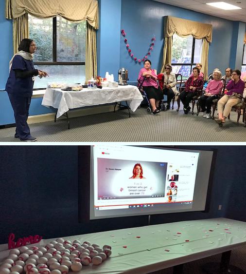 two photos of presenter and presentation screen