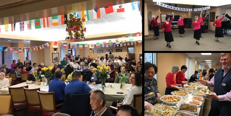 3 photos of international day celebration