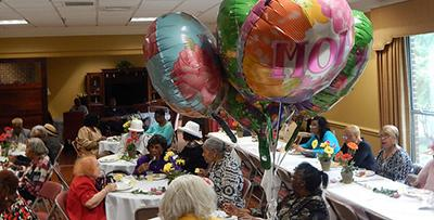 Mothers' day party with balloons