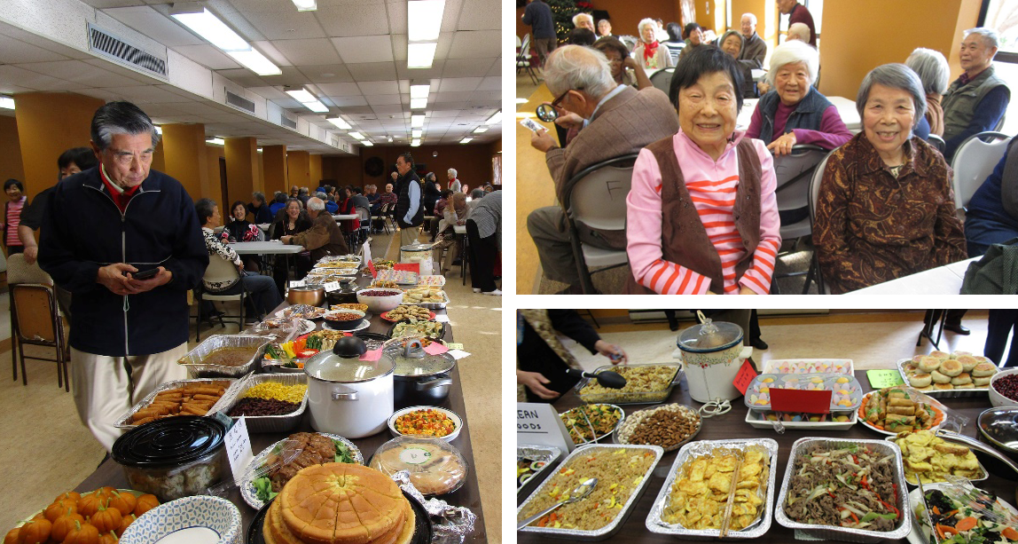 collage of photos of buffet food and people at party