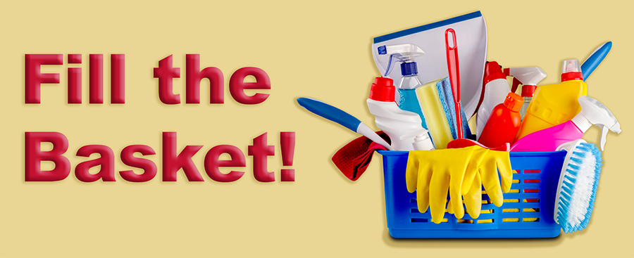 basket of cleaning supplies and text that says Fill the Basket