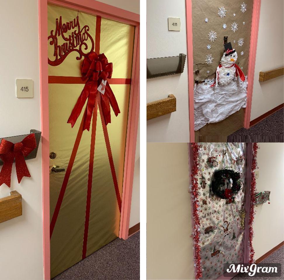 three photos of door decorations