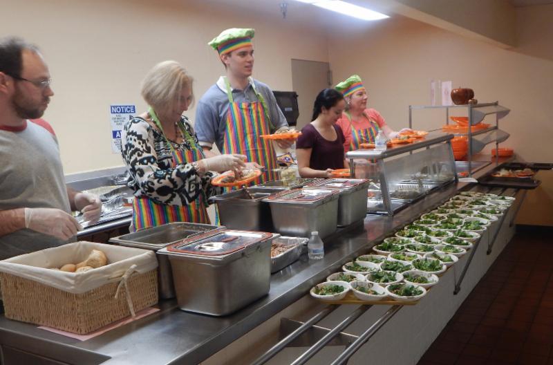 servers behind cafeterial line