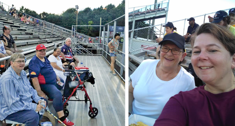 2 photos of residents at ball game
