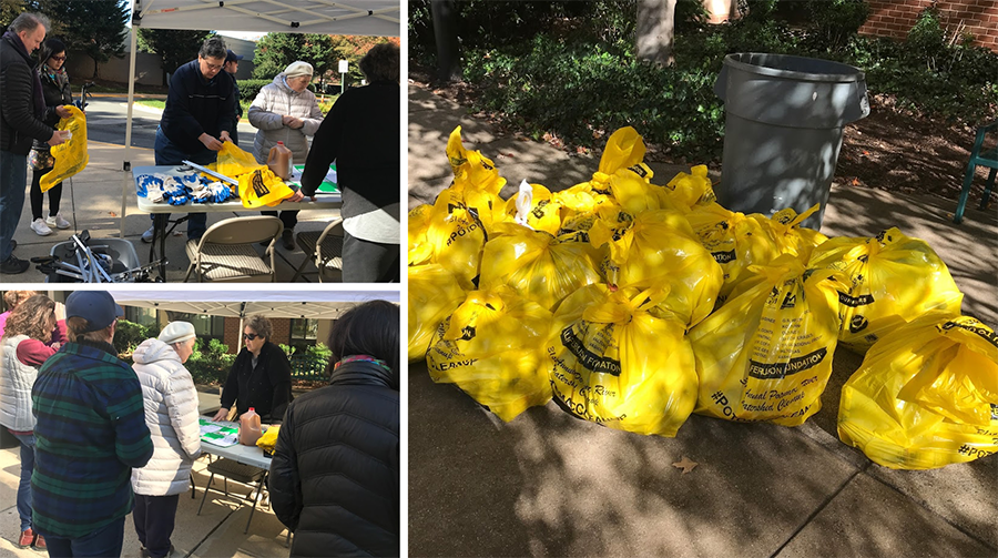 collage of volunteers and bags from the cleanup