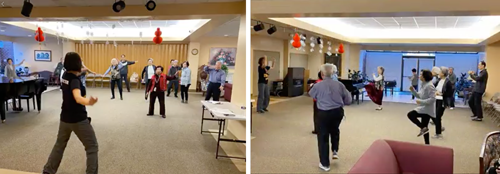 2 photos of residents participating in a zumba class
