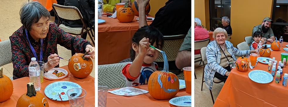 Three photos of people carving pumpkins