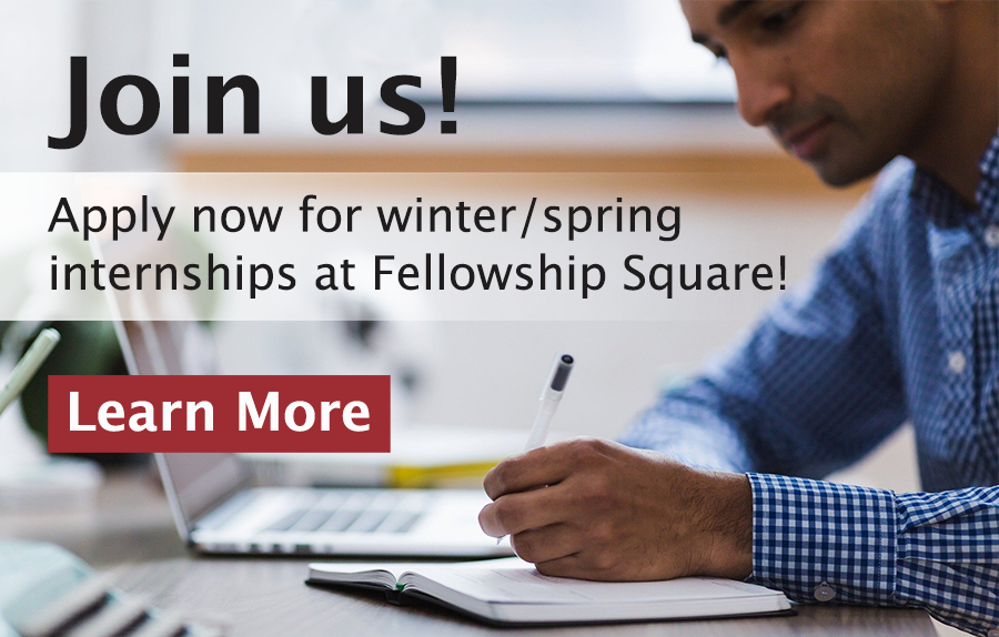 Man writing with a pen with a laptop in background with words Join Us Apply now for winter spring internships at Fellowship Square