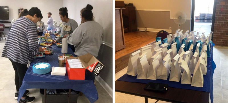 two photos of volunteers and bags on table