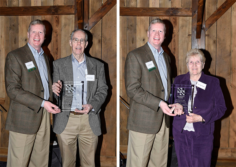 2 photos of people honored at meeting