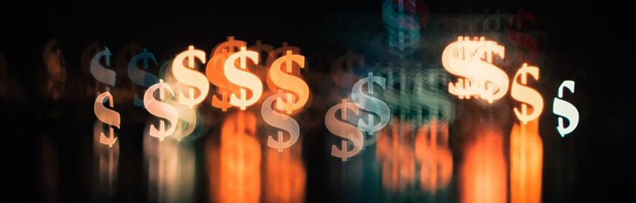 colorful dollar signs on black background