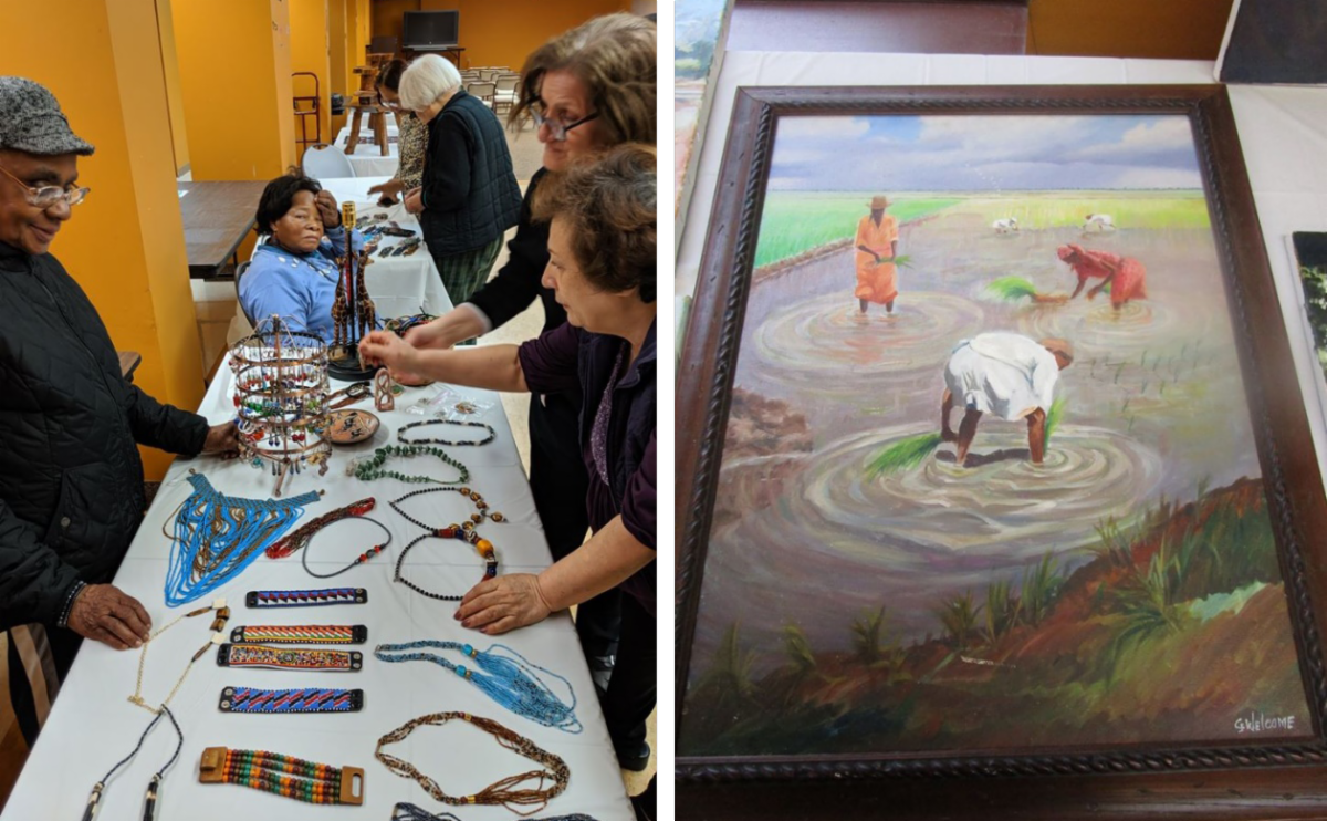two photos jewelry on the left and a painting on the right