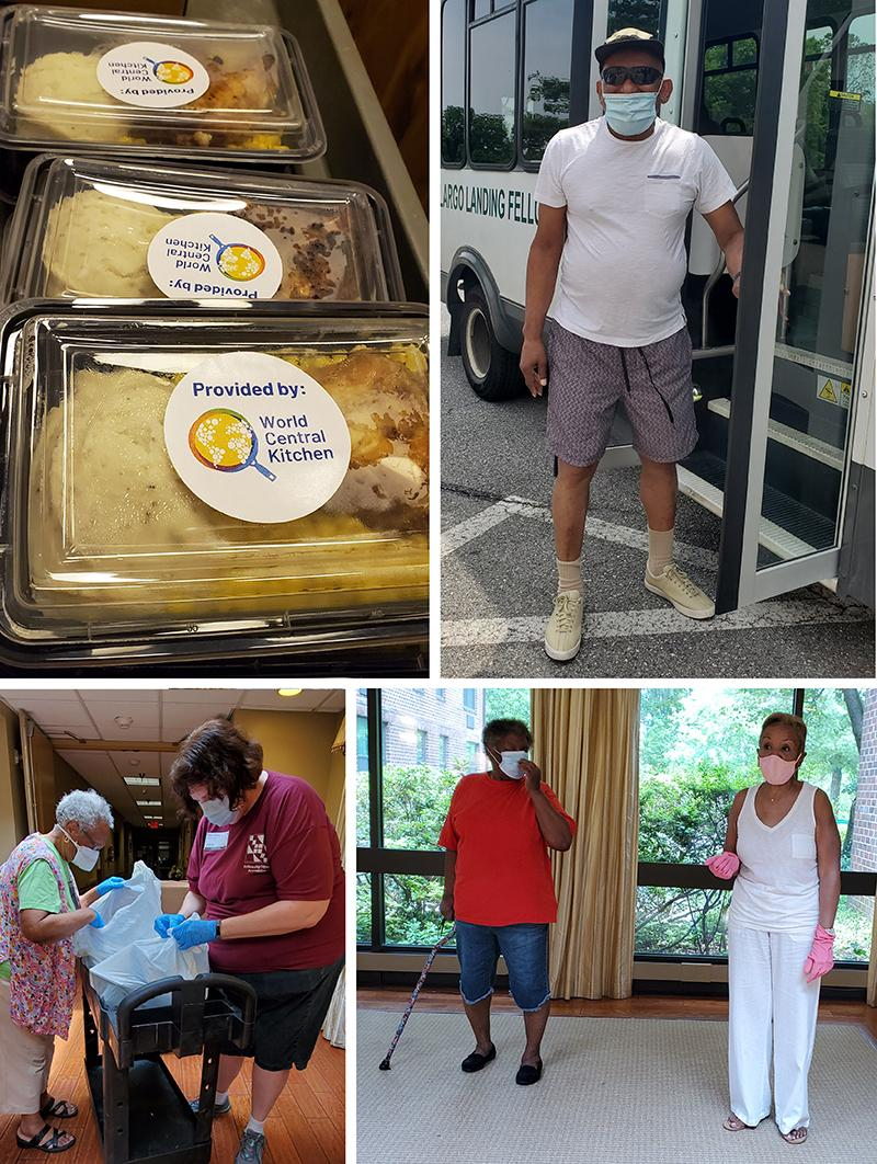 collage of photos of people and of packaged meals