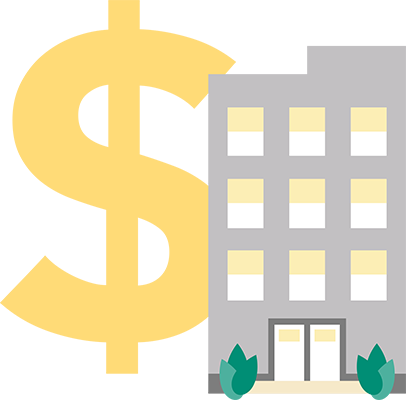 building and dollar sign