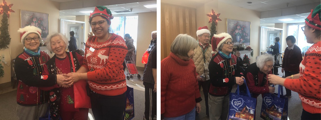 2 photos of residents wearing funny Christmas sweaters