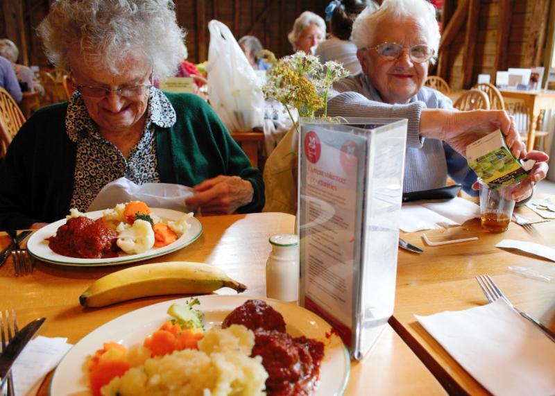 older ladies at dinner