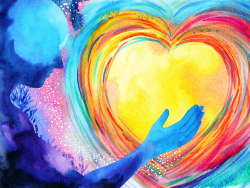 human and love spirit powerful energy connect to the universe power abstract art watercolor painting illustration design hand drawn