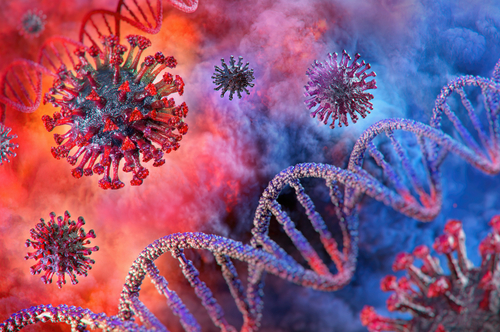 Coronavirus disease COVID-19 infection 3D medical illustration. Floating China pathogen respiratory influenza covid virus cells. Dangerous asian ncov corona virus_ dna_ pandemic risk background design
