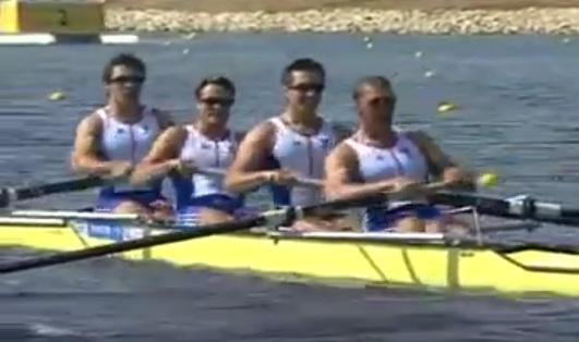 Great Britain's coxless four in their gold medal winning race at the 2004 Athens Olympic Games