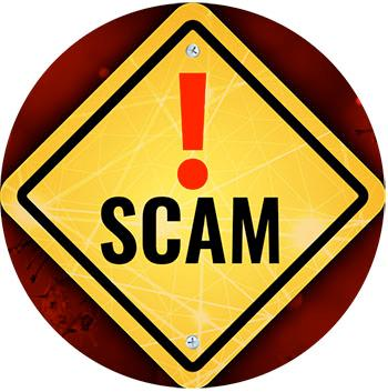 """scam alert icon, yellow diamond-shaped warning sign with exclamation mark and text """"scam"""""""
