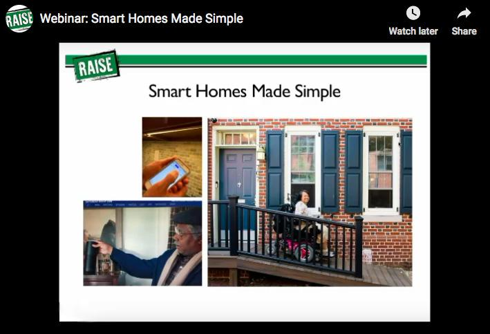 Screenshot of a segment of the webinar presentation, picture of ramp ouside house.