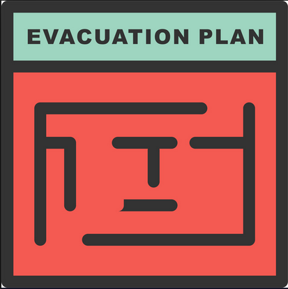 Evacuation plan graphic maze with entrance and exit