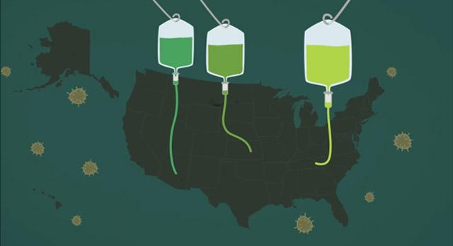 map illustration of US with 3 IV bottles draining into it