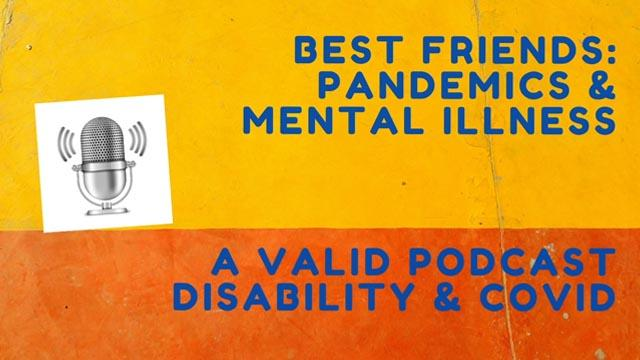 pandemics and Mental Illness Poscast title image - orange and yellow field with title text