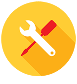 Circle icon with wrench and screwdriver graphic