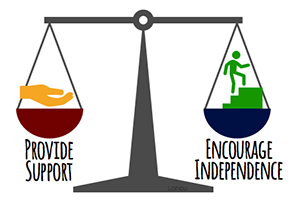"Scale showing ""Provide Support"" balancing with ""Encourage Independence"""
