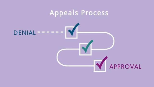 Simple flow chart of insurance denial, appeal and approval on lavender background