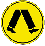 Yellow warning sign with picture of legs walking.