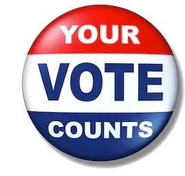 Your Vote Counts button, red white and blue