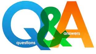 Q&A graphic - colorful letters and ampersand transparent blue, green and orange