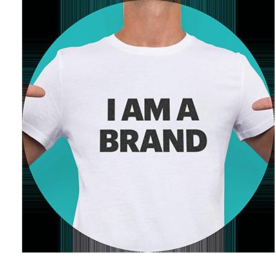 "circular image of aman wearing a tee shirt that says ""I am a Brand"""
