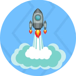 Project Launch icon - blue circle with rocket illustration