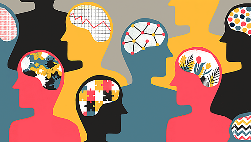 Colorful illustration of various figures with brain outlines and differing patterns in their brains