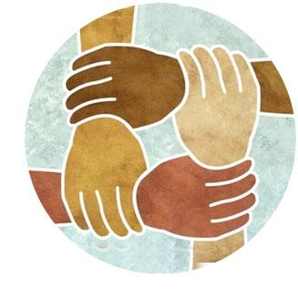 icon illustration of black, brown and white hands and wrists interlocked