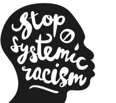 """silouette of african american head in profile with tear and words """"stop systemic racism"""""""