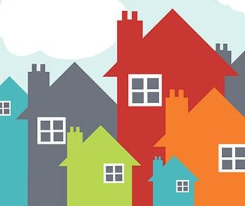 graphic of several brightly colored houses small and large