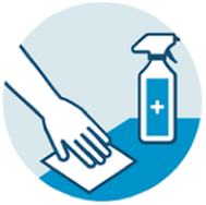 Clean and disinfect surfaces and objects that people touch frequently.