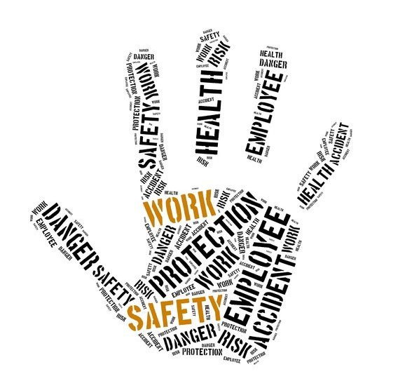 Hand graphic composed of a word cloud about employment safety