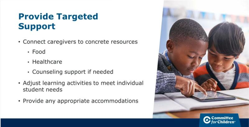 screen grab of presentation about addressing trauma for students while working at home, slide image with two young boys working together at a desk